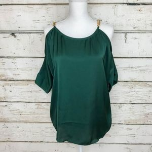 Size XS Michael Kors Emerald Cold Shoulder Top